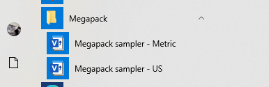 Megapack sampler on Start menu
